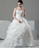 Ball Gown Spaghetti Straps Brush Train Organza Beading Wedding Dresses