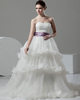 Ball Gown Strapless Court Train Tulle Beading Tiered Wedding Dresses