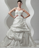 A-line Strapless Court Train Taffeta Pick-Ups Wedding Dresses With Beading