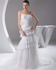 Mermaid Sweetheart Court Train Tulle Flower Tiered Wedding Dresses