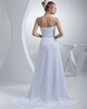 A-line Tube Top Sweep Chiffon Sequin Crystal Draped Wedding Dresses