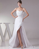 A-line Sweetheart Brush Train Chiffon Split Front Wedding Dresses
