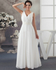 A-line V-neck Floor-length Chiffon Draped Wedding Dresses