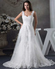 A-line Straps Brush Train Lace Sequin Beading Wedding Dresses
