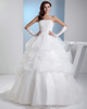 Princess Strapless Brush Train Organza Beading Pick-Ups Wedding Dresses