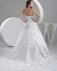 Ball Gown Strapless Brush Train Organza Crystal Beading Wedding Dresses