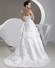 A-line Strapless Brush Train Satin Bowknot Wedding Dresses