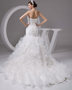 Mermaid Strapless Brush Train Organza Ruffle Sequin Wedding Dresses