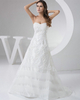 A-line Strapless Brush Train Beading Sequin Lace Wedding Dresses