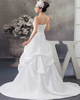 Over Hip Strapless Brush Train Satin Beading Bowknot Wedding Dresses