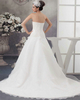 A-line Strapless Court Train Organza Beading Wedding Dresses