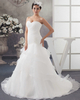 Western Saloon Girl Style Wedding Dresses Over Hip Strapless Court Train Organza Beading Wedding Dresses