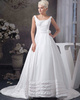 A-line Bateau Straps Sweep Satin Flower Tiered Wedding Dresses