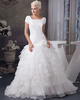 Princess Bateau Sweep Organza Short Sleeve Flower Wedding Dresses