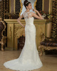 Mermaid Scalloped-edge Brush Train Organza Beading Wedding Dresses