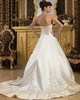 A-line Tube Top Brush Train Satin Embroidery Sequin Wedding Dresses