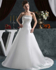 A-line Strapless Brush Train Satin Beading Sequin Wedding Dresses