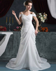 A-line Off-the-shoulder Brush Train Chiffon Beading Wedding Dresses