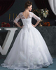 Ball Gown V-neck Floor-length Organza Sequin Wedding Dresses