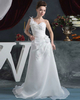 Girls In Very Short Dresses Pantyless A-line One Shoulder Brush Train Organza Flower Wedding Dresses