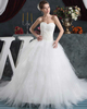 Princess Strapless Brush Train Tulle Beading Ruffle Wedding Dresses