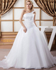 Ball Gown One Shoulder Brush Train Organza Beading Wedding Dresses