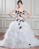 Ball Gown Sweetheart Brush Train Organza Flower Ruffle Wedding Dresses