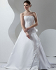 A-line Strapless Brush Train Satin Beading Wedding Dresses