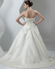 A-line Strapless Brush Train Satin Beading Crystal Wedding Dresses