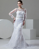 Mermaid Bateau Brush Train Long Sleeve Sequin Lace Wedding Dresses With Beading