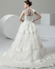 Ball Gown Scoop Brush Train Organza Tiered Wedding Dresses