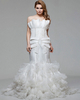 Mermaid Scalloped-edge Brush Train Organza Ruffle Wedding Dresses With Beading