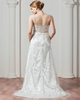 A-line Spaghetti Straps Brush Train Tulle Beading Wedding Dresses
