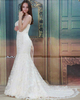Mermaid Strapless Brush Train Lace Wedding Dresses