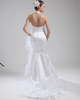 Mermaid Halter Brush Train Organza Side-draped Wedding Dresses