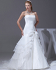cheap empire line prom dresses Mermaid Tube Top Sweep Organza Bowknot Crystal Wedding Dresses