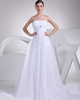 A-line Tube Top Strapless Brush Train Chiffon Beading Wedding Dresses