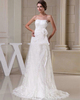 Gown Color Gray Over Hip Sweetheart Strapless Brush Train Flower Lace Wedding Dresses