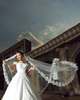 Single Layer Tulle Cathedral Length Lace Applique Edge Wedding Veil Extra Length