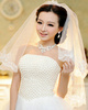 Single Layer Tulle Lace Applique Edge Wedding Veil