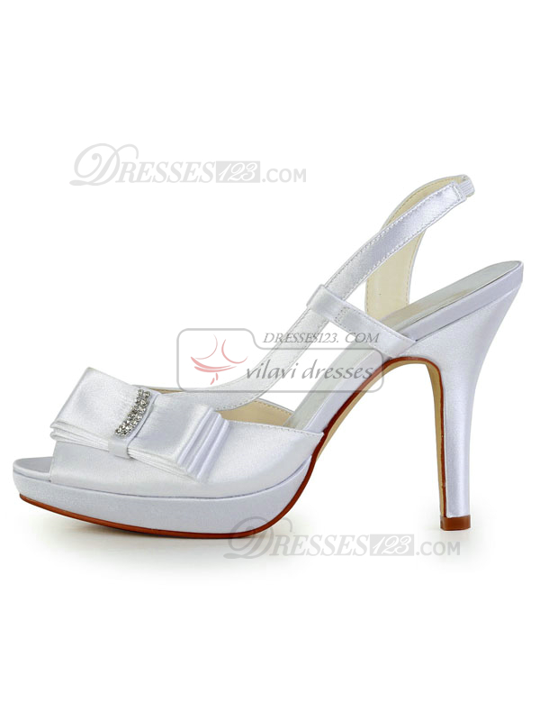 Satin Stiletto Heels Platform Sandals Peep Toes Rhinestones Wedding Shoes