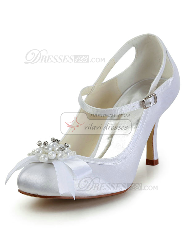 Satin Stiletto Heels Buckle Hollow Out Wedding Shoes With Beading