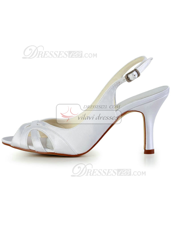 Satin Stiletto Heels Peep Toes Sandals Wedding Shoes With Buckle