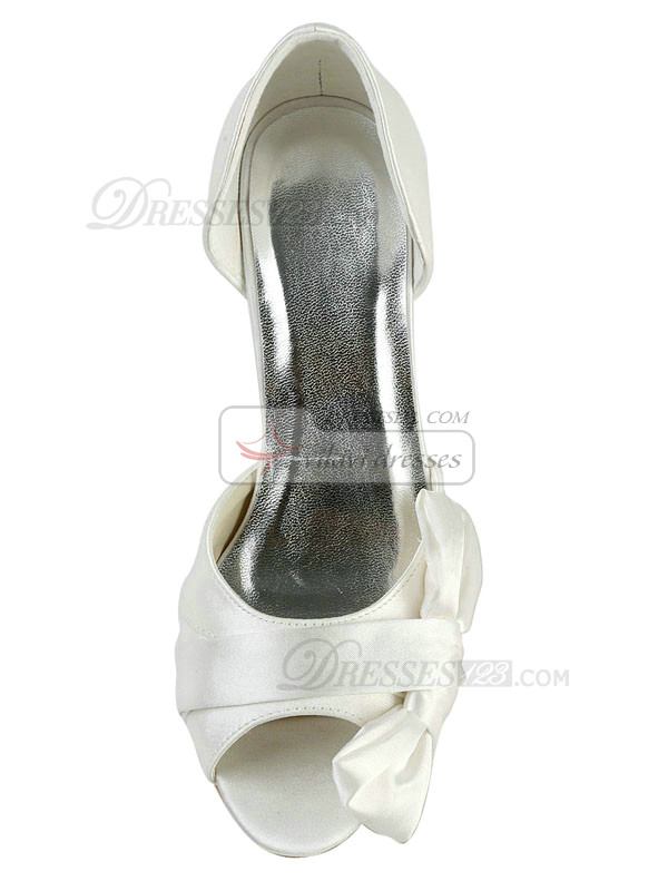 Satin Stiletto Heels Sandals Wedding Shoes With Bowknot
