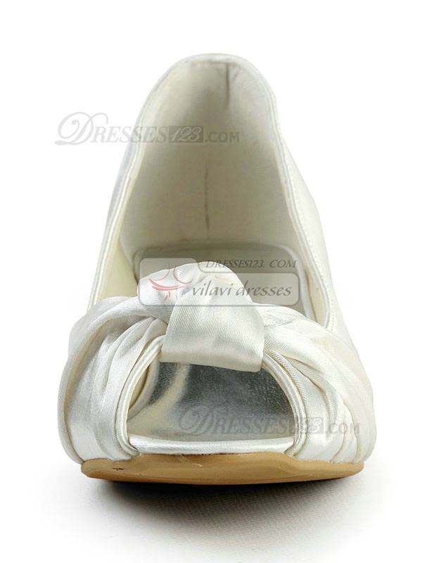 Satin Mid Heels Peep Toes Pumps Ruched Wedding Shoes