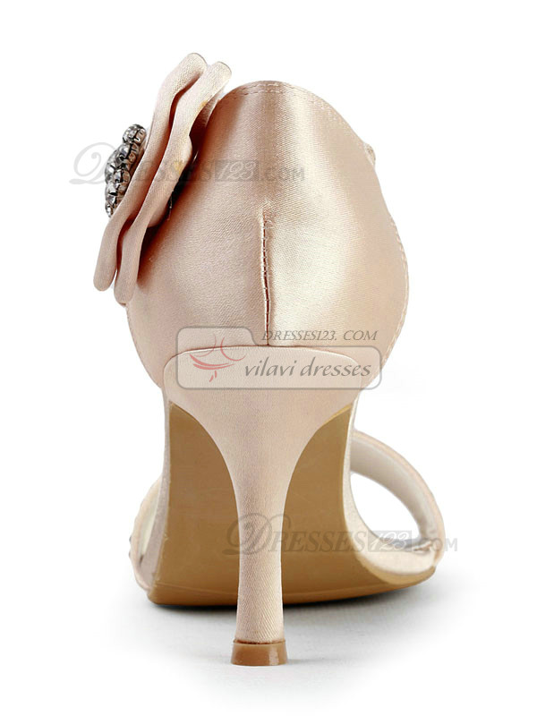 Satin Stiletto Heels Sandals Wedding Shoes With Bowknot And Rhinestones
