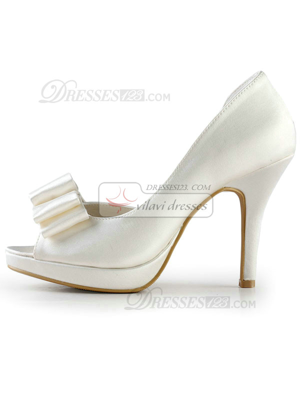 Satin Stiletto Heels Peep Toes Wedding Shoes