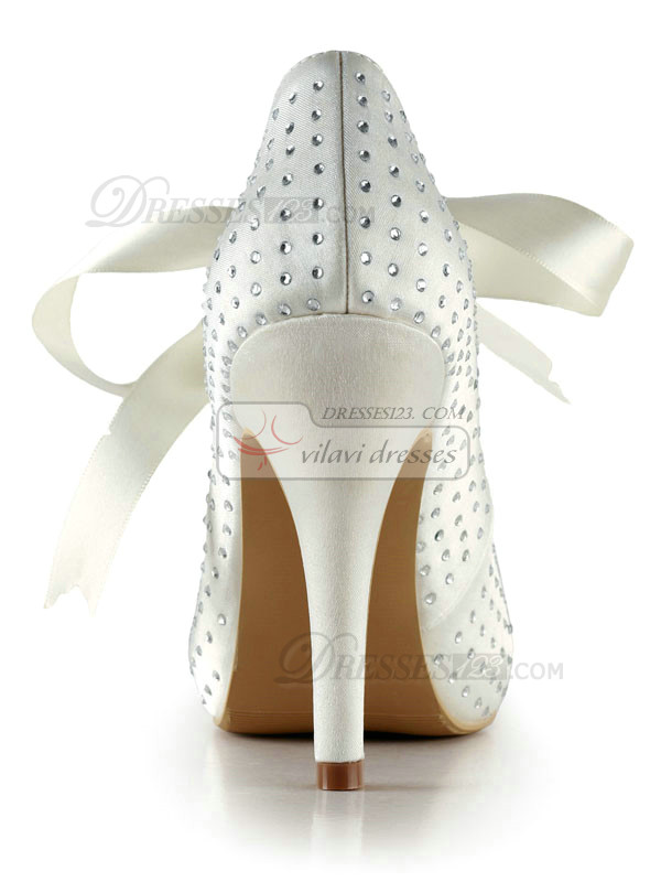 Satin Stiletto Heels Pointed Pumps Lace-up Wedding Shoes With Rhinestones