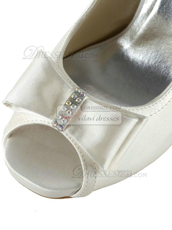 Satin Stiletto Heels Sandals Peep Toes Wedding Shoes With Bowknot