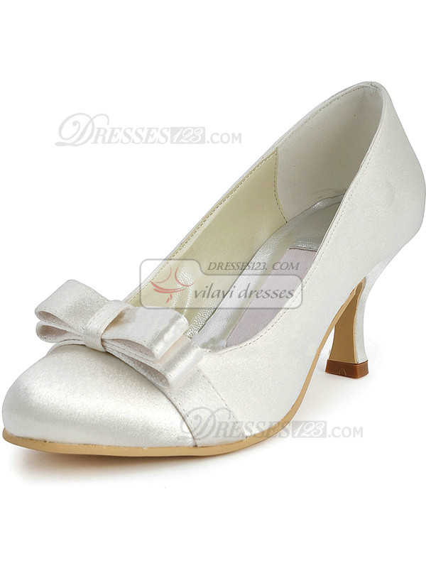 Satin Upper Stiletto Heel Closed Toes Pumps Wedding Shoes With Bowknot